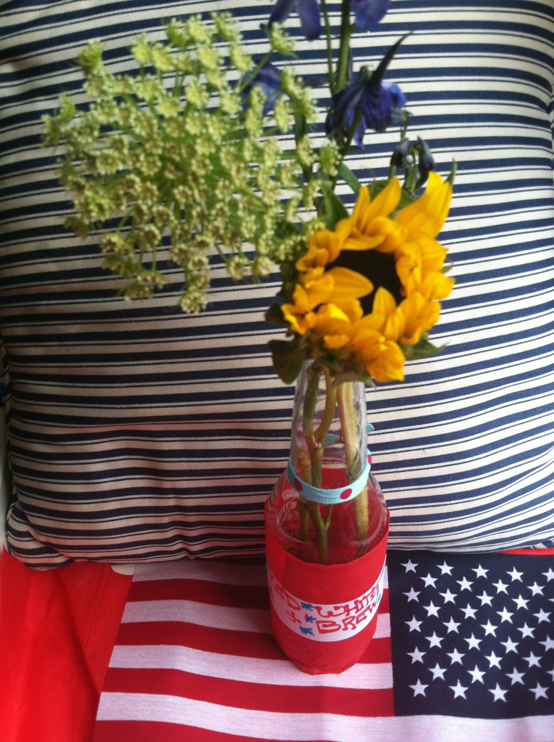 red white brew decor